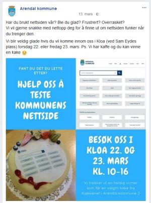 Facebookpost - invitasjon til testing
